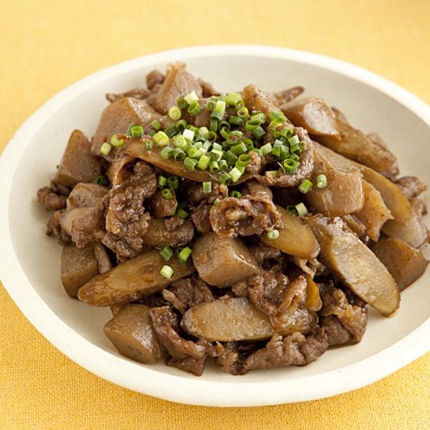 「牛肉とごぼうのピリ辛炒め」