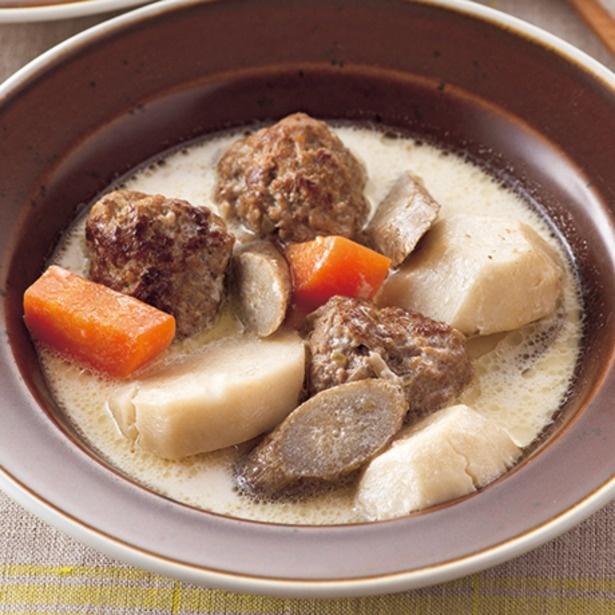 「ミートボールと根菜のおかずスープ」