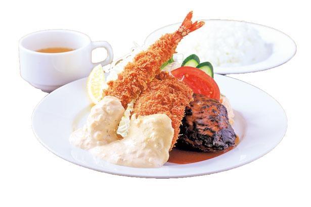 プリプリのエビフライのほか、煮込みハンバーグや白身魚のフライのAセット(980円)/グリル北斗星