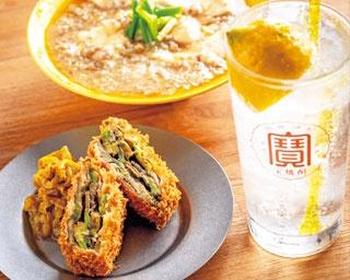 アボカドハムカツ(680円・手前左)、レモン麻婆(756円・奥)、レモンサワー(540円・手前右)/酒場檸檬