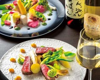 京都姫牛イチボ炭焼きステーキ(150g 2580円、手前)は柔らか。色鮮やかな京料理風四季折々のはんなりバーニャカウダー(980円、奥)と共に味わって/わいんとお肉だいせん