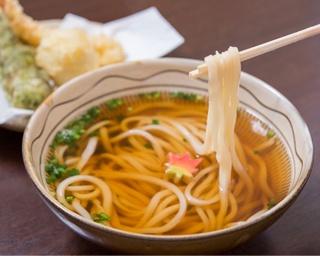 自家製麺と自慢のダシをダイレクトで味わえる「秋月うどん」(750円)