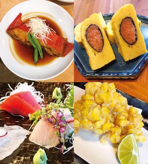 金目鯛の煮付け(1500円、左上)、玉子焼き(650円、右上)ほか/すし酒場 平島