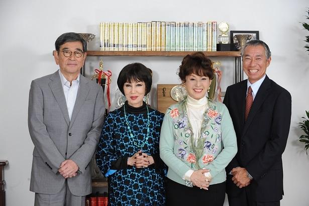 2019年4月スタートの「やすらぎの刻~道」がクランクイン。主人公を演じる石坂浩二と浅丘ルリ子、加賀まりこ、柳葉敏郎(写真左から)