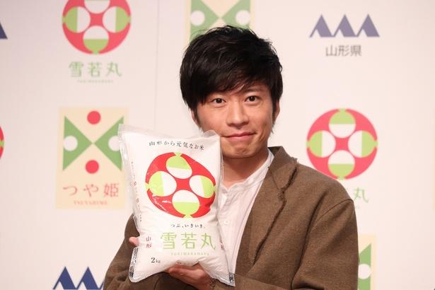 田中圭が山形県産米「雪若丸(ゆきわかまる)」 のデビューCM発表会に登壇した