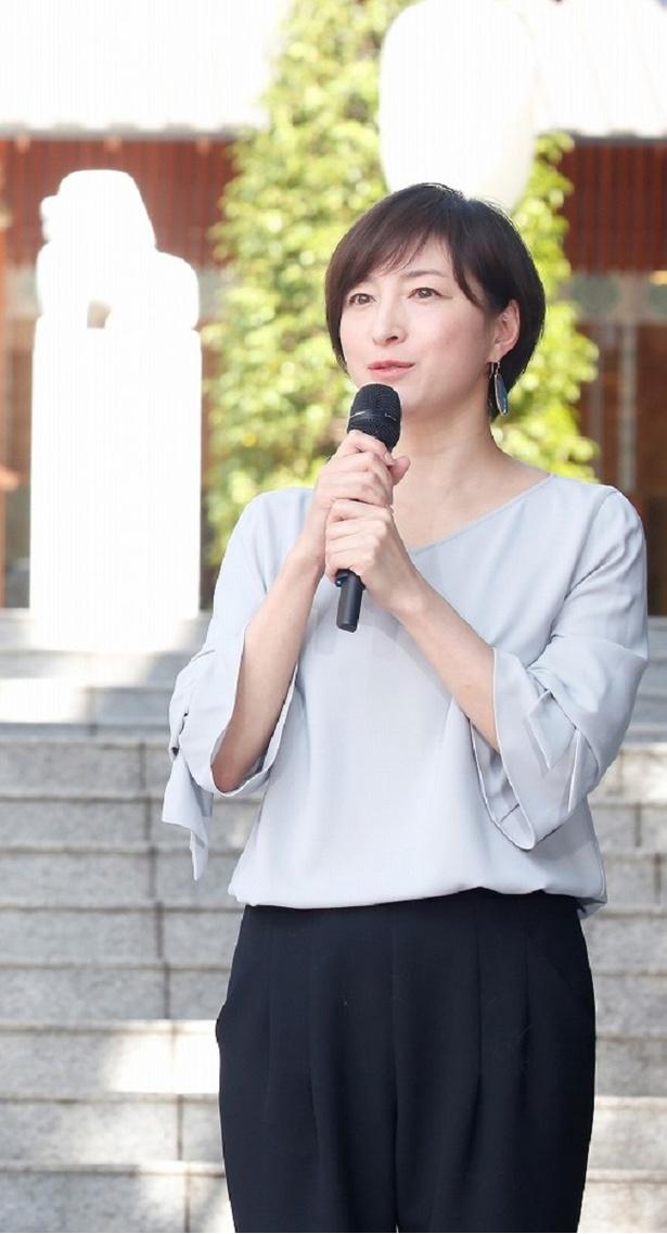 ドラマの見どころを語る広末涼子