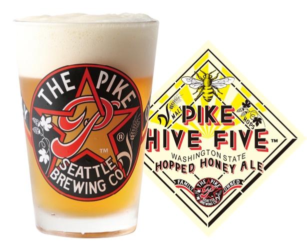 「HIVE FIVE HOPPED HONEY ALE」アロマホップとビスケット風味の良質なモルトに最高級の蜂蜜を加えた。サラダ・シーフード・鶏肉・チーズなどさまざまな料理に合う(アルコール度数:5.0%)