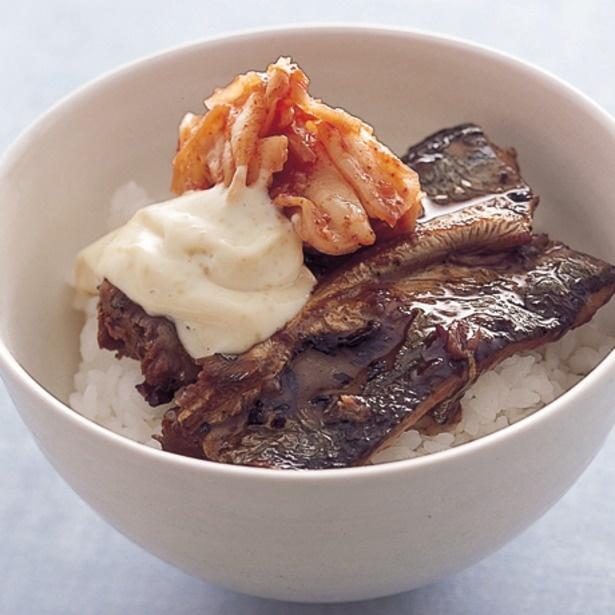 マヨネーズで味わいをマイルドにした「さんまキムチ丼」