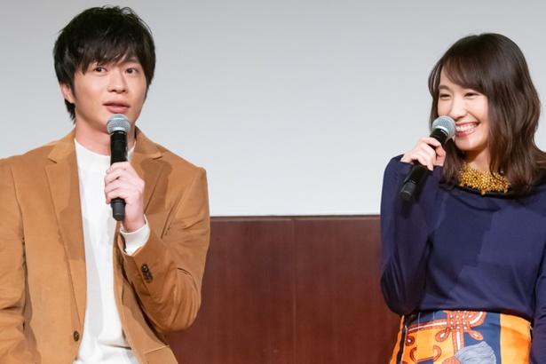 「獣になれない私たち」完成披露試写会の新垣結衣と田中圭
