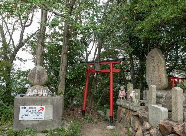 社殿の北にある鳥居をくぐれば、須磨側の山頂に。社殿周辺の景色も必見