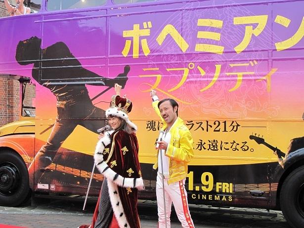 大阪に氷上のスマイルクイーン村上佳菜子が登場 映画『ボヘミアン・ラプソディ』公開記念イベントで、あのポージングにも挑戦