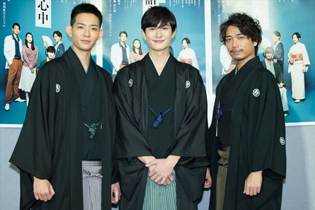 会見時の(左から)竜星涼、岡田将生、山崎育三郎