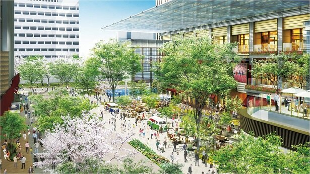 【写真を見る】大屋根を配した広場イメージ。緑あふれる、開放的な空間が広がる