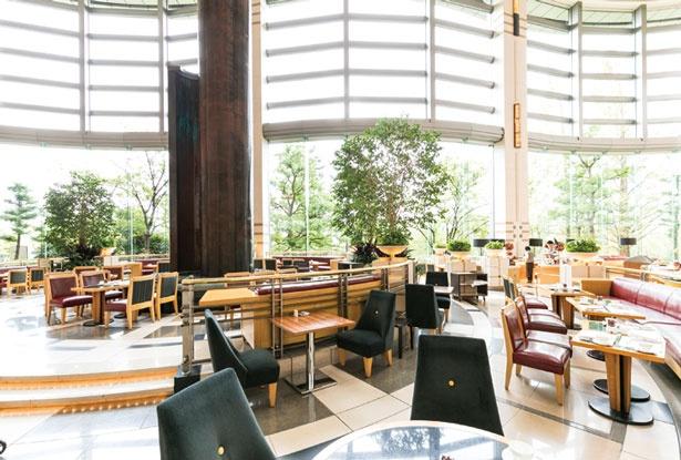 窓から陽光が射し込む開放感たっぷりのラウンジ。窓の外には緑も見えてリラックスできる/帝国ホテル 大阪 ザ パーク