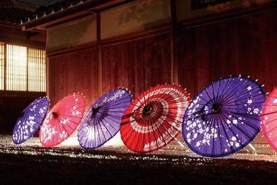 森鷗外・夏目漱石住宅付近に設置される、和傘の灯り
