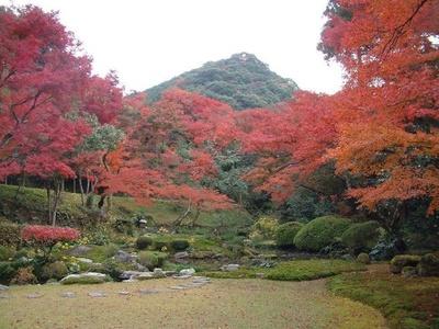 清水寺本坊庭園(福岡県みやま市) / 自然豊かな風景が色付く庭園