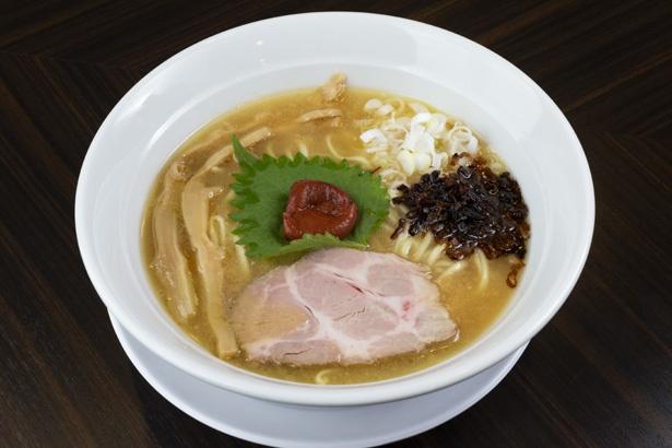 特濃鶏白湯麺(850円)。通常の1.5倍の濃度でインパクト大! 昼夜15食限定。梅干付き