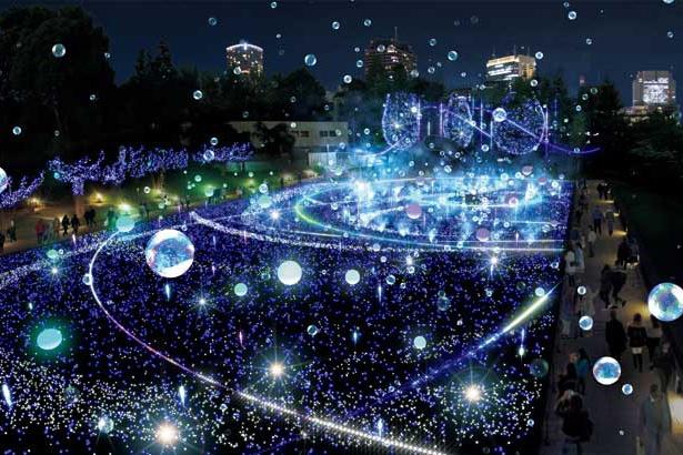 今年は2種類のしゃぼん玉と光るバルーンを組み合わせた新演出をプラス