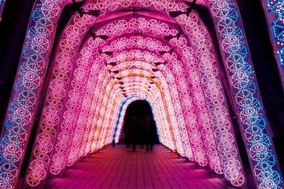 全長約140メートルの光の回廊「万華鏡の道」