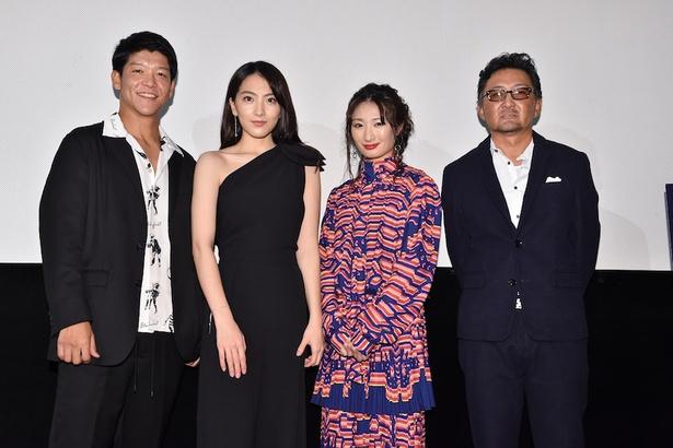 知英が主演を務めた日米合作映画「殺る女」が公開され、武田梨奈や駿河太郎、宮野ケイジ監督らと初日舞台あいさつに