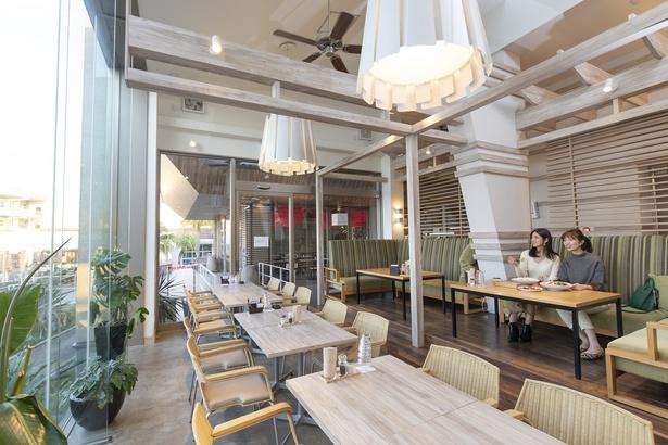 開放的なレストラン。大きな窓からは温かい日差しが差し込む