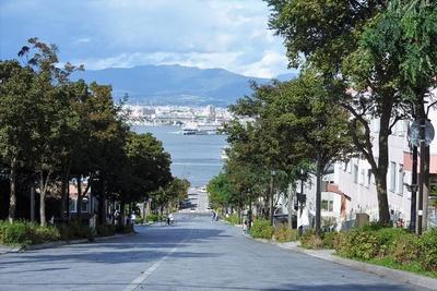函館市の観光名所「八幡坂」からの眺め。正面の海に浮かぶ大きな船がかつての青函連絡船、函館市青函連絡船記念館摩周丸です