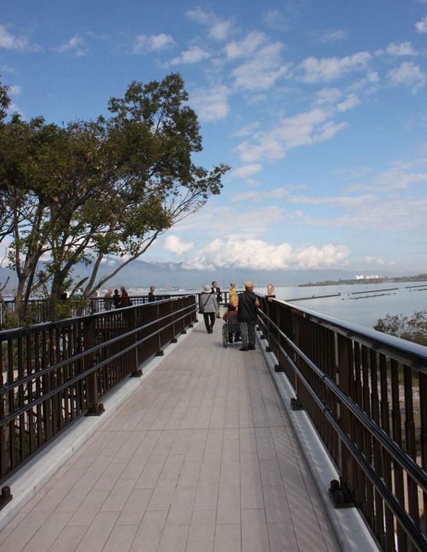 博物館から琵琶湖に真っ直ぐのびる丸子船トレイル
