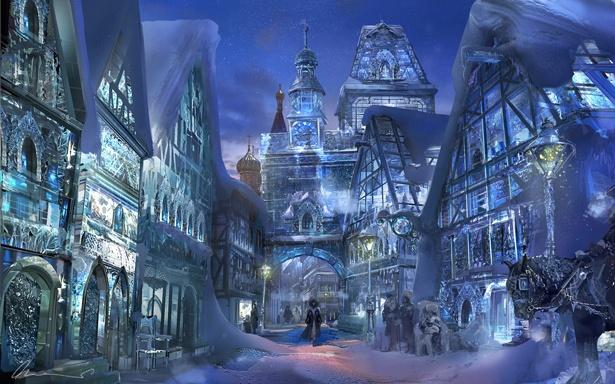 """16世紀のドイツの村々を氷で再現した""""雪の国"""""""