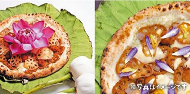 特別に作り上げられた大豆チーズによって、しっかりとコクのある味になっている「ロータス ピザ」