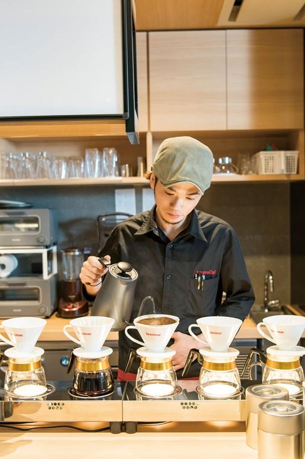AROMA CAFÉ / マネージャーの光安さん。京都の喫茶店やイタリアで腕を磨いた