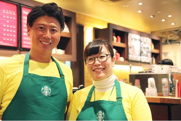 開発に携わったビバレッジ商品開発チームの林さん(左)、ドリンクのアイデアを発案したアルビ住道店の坂東さん(右)