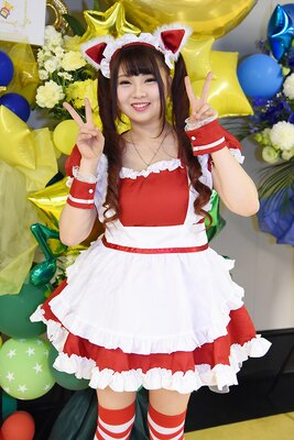 オリジナルのメイド衣装で「ニコニコ超パーティー」に参加した りさりささん(りさりさどっとこむ)