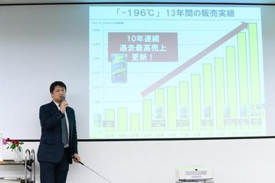「-196℃ストロングゼロ」の人気について話してくれたサントリーの井島隆信さん