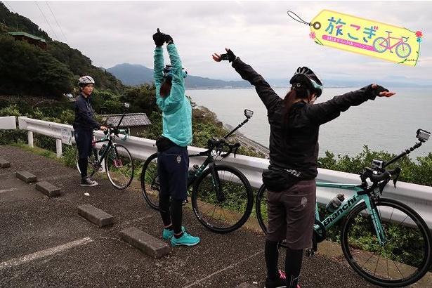 「旅こぎ」より、2日目の自転車旅を終えた3人