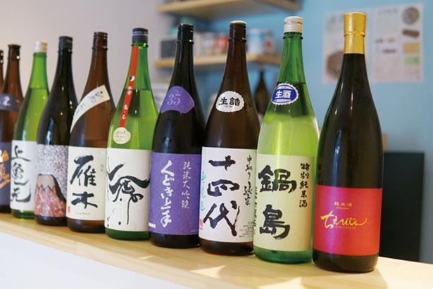 常時置いている銘柄はなく、その時に出合える日本酒を楽しみに来店する常連が多い/日本酒とおつまみ chuin