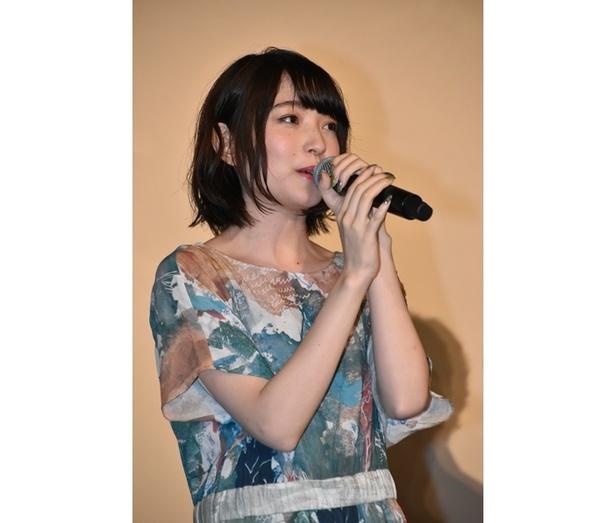映画『GODZILLA』三部作の最終章、『GODZILLA 星を喰う者』の舞台挨拶に出席した、マイナ役の上田麗奈さん