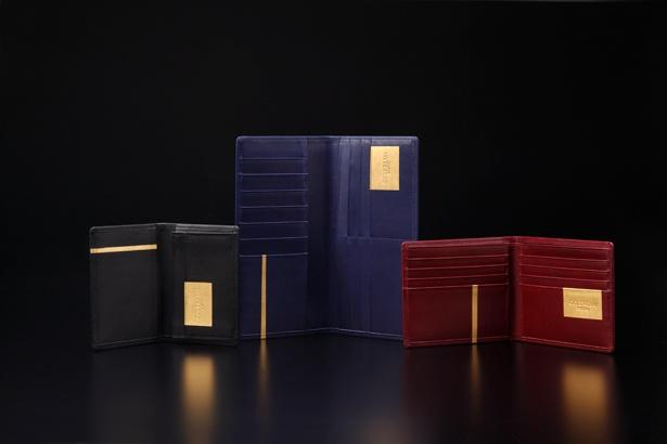 京箔押工房ゴールドリーム(京都市)の、金箔押し革雑貨。写真は屏風をイメージした、メンズコレクション「Byobu」