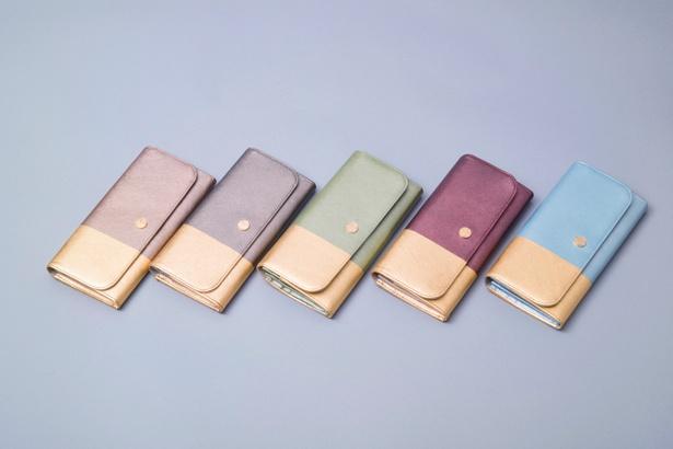 カラーレザーと金箔を組み合わせた、京箔押工房ゴールドリームのウィメンズコレクション「DAYBREAK」