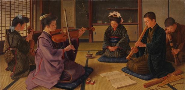 長崎県美術館 / 彭城貞徳「和洋合奏之図」1903(明治36)年頃