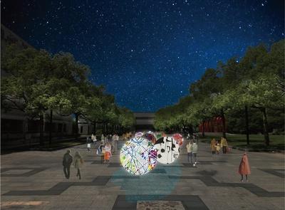 【写真を見る】イルミネーションで彩られたアドバルーンアートは必見