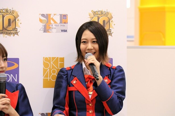 イオンカード(SKE48)のPR動画撮影について話す古畑奈和