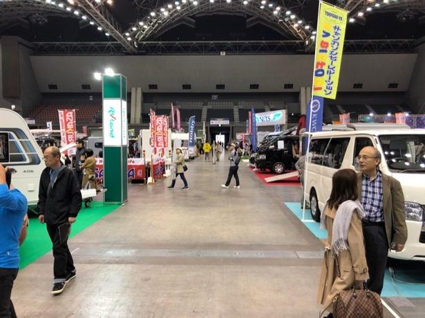 ふだん九州では、なかなかみられないキャンピングカーが展示されていた