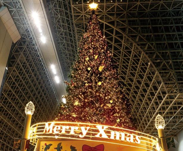 今年も室町小路広場には、約8万球もの電球を使用した高さ22mのクリスマスツリーが登場!/京都駅ビル クリスマス イルミネーション2018