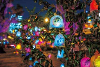 果実袋に笑顔を描き、LEDの光を入れて膨らませるひかりの実が輝く/OSAKA光のルネサンス2018