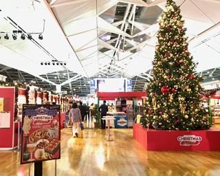 巨大クリスマスツリーが登場し、旅客ターミナルビル内は一気にクリスマスモードに!