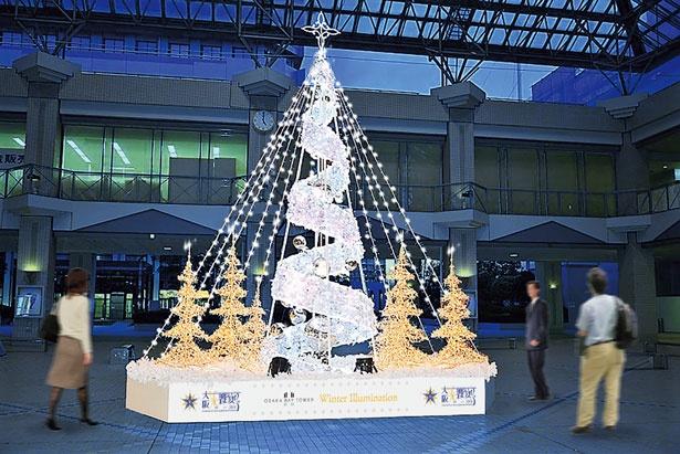 約15分に1度、音と連動したプログラムも行われ、幻想的で心安らぐクリスマスを華やかに演出する/大阪ベイタワー ウインターイルミネーション2018 音と光のウインターイルミネーション