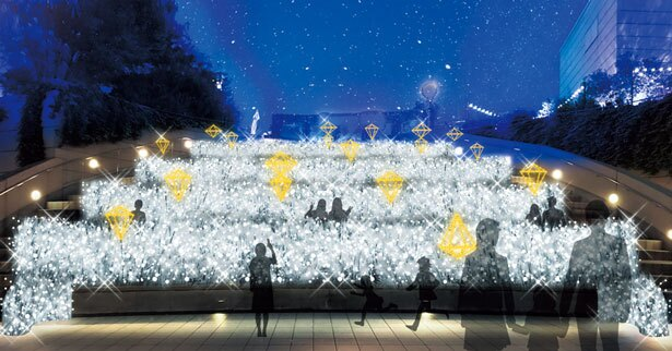 【写真を見る】8階円形劇場に新登場する「煌めく草原」/まいどおおきに!大阪ミナミ光マッセ!光の滝