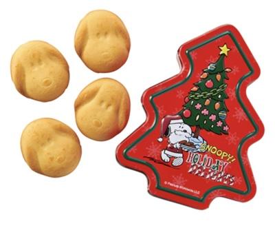「PEANUTS スヌーピー クリスマスツリー缶 (クッキー)」(756円)