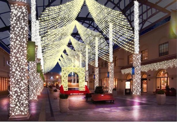 施設全体がシャンパンゴールドとホワイトの光のカーテンで包み込まれる