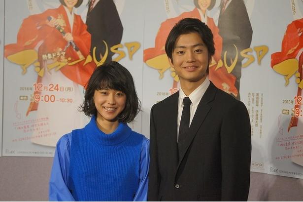 「アシガールSP」の会見に出席した黒島結菜(左)と伊藤健太郎